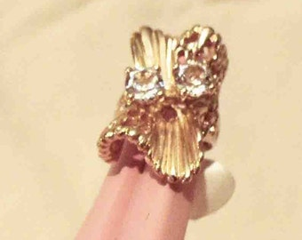 1970s 18K Gold Clad Free Form Statement Ring Set with 2 Carats Cubic Zircons Stones