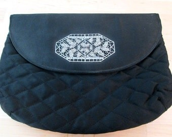 60s Satin Quilted Vintage Clutch with Marcasite Ornament.