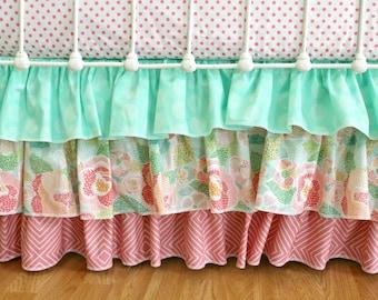 Bumperless Baby Girl Crib Bedding Set -  Mint Mosaic Rose