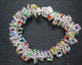Hand Crocheted Crystal Beaded Braclet 7 Inches