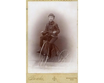 Vintage 1880's Photograph of Boy on Velocipede/Tricycle - SALE