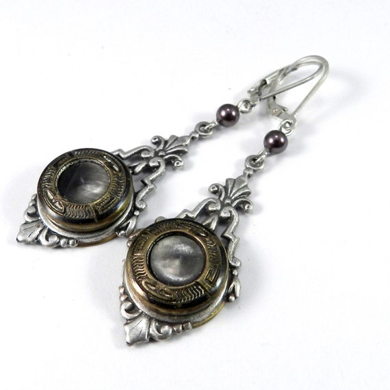 Antique Button Earrings - SALE - Victorian Button Earrings - Mother of Pearl on Silver Filigree Handmade by Compass Rose Design