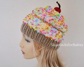 Cupcake Beanie, Women Cupcake Hat, Knit Hat, Hand Knit Hat, Womens Hat