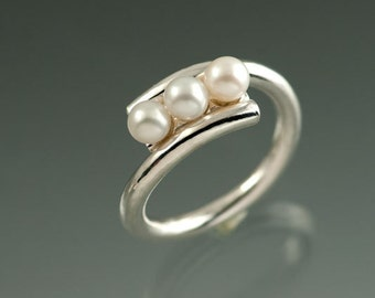 3 Fine Fresh Water  White Pearls in Sterling Silver Overlap Round Ring