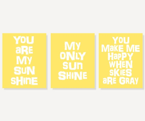 You Are My Sunshine Kids Wall Art (3 Typography Art Nursery Prints)