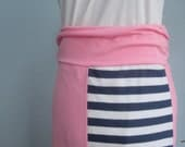 Womens - Sale - Maxi Skirt Jersey Knit Pink Navy Stripe, Ready to Ship (Small)