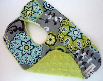 Gray, Turquoise, and Lime Bib