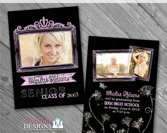 INSTANT DOWNLOAD - Chalk It Up Graduation Announcement No. 3-  5x7 photo templates on WHCC, Miller's Lab and ProDigitalPhotos Specs