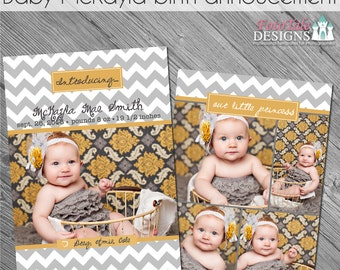 INSTANT DOWNLOAD McKayla Announcement Collection- 4 double-sided templates for photographers on WHCC specs