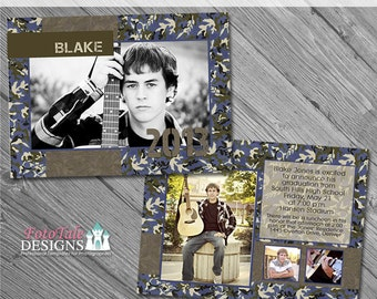 Camouflaged Senior Graduation Announcement No. 3- custom photo templates for photographers on WHCC, Miller's Lab and PDPSpecs