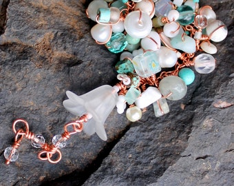 lucite flower bracelet / uniquenecks copper wire wrap beaded gift / mint teal white gemstones / wire wrapped moonstone and turquoise