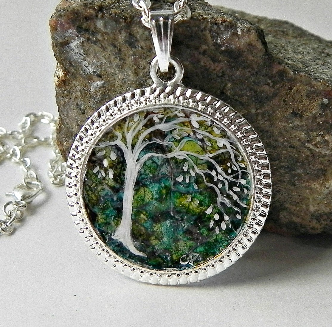 painted tree necklace pendant eggshell mosaic silver