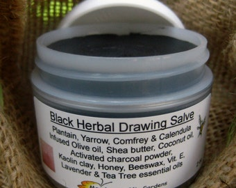 Black Herbal Drawing Salve, Hilla schemer, Healing Smear, First Aid Kit, Splinters, Toxins, Child Safe