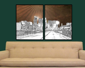 Minneapolis Split Digital City Wall Art