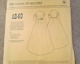 Patterns of History 1840 Women's Long Day House Dress with Ruffled Sleeves Historical Sewing Pattern - Size 12 Factory Folded