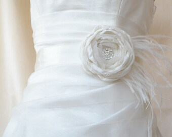 Handcrafted Fabric Flower With Rhinestone Wedding Dress  Ivory Bridal Sash Belt