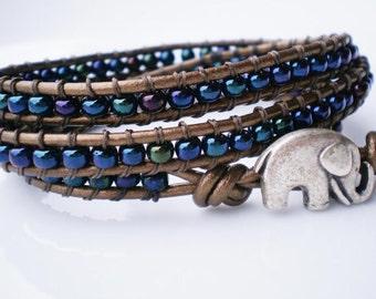 Blue Czech Bracelet Czech Glass Blue Iris Bracelet Wrap Bracelet Elephant Jewelry Elephant Bracelet