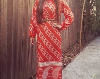 70's Paisley Tunic Maxi Dress