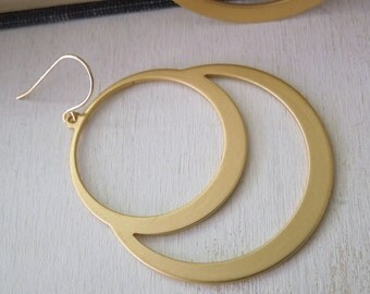 Stacked Circle Earrings - Golden Cirlce Pendant Earrings Gold Fish Hook Earwires