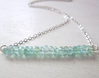 Blue Apatite Rondelle Bar Necklace - Natural Light Blue Stone Pendant Necklace Delicate Silver Chain no.5