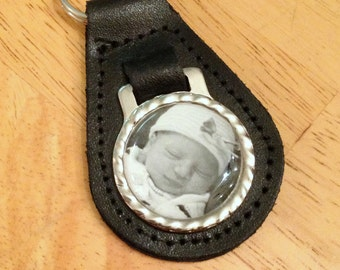 Personalized Dad - Custom Photo Key Chain - Leather - Fathers Gift