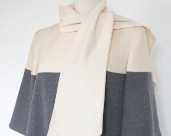 Lilli Ann Designer Coat SALE 1960s Coat // 60s  Striped Grey and Cream Wool Swing Coat // Lilli Ann Knit Paris Collection