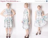50s Parisian Cafe Novelty Print Cotton Dress / 1950s Dress / Dresses 50s / French Novelty Print 50s Dress / 2064