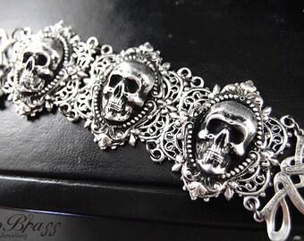 Evilyn-- Aged sterling silver plated brass skull gothic adjustable bracelet S002