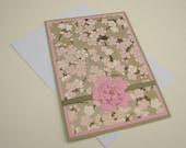 Customizable Japanese Washi Greeting Card Pink Green and Gold Floral Blank Inside- You Choose Sentiment on Front