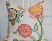 DURALEE - Decorative Pillow Cover - Floral - Jacobean - Orchid - Pink - Green - Orange - Accent Pillow - Euro Sham - Linen Pillow