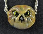 Owl Face Lampwork Focal Bead Pendant OOAK