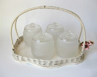 Wicker Tray with Glass Jars / Baby / Nursery / Kruger
