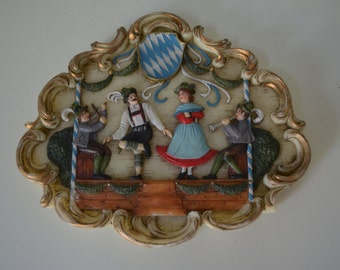 Antique German Ornate Hand Carved Wax Art AN OOMPAH BAND Wall Frame