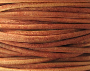 2 Yards - 2mm Naturally Dyed Orange Leather Cord