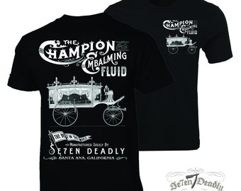 Champion Embalming Fluid Funeral Coach Mens T-shirt