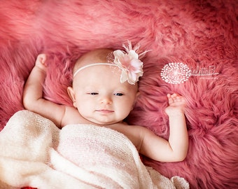 baby headband, feather baby headband, small flower headband, pink newborn headband, flower girl hair accessories