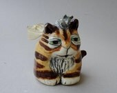 Tiger Cat Ornament - Hand Built Ornament - Cat and Mouse - Whimsical Ornament - Christmas Gift - Ginger Cat Ornament