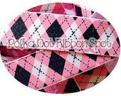 Preppy Nautical Glitter ribbon 5 yards- 7/8inch Navy and Pink Argyle printed US Designer grosgrain ribbon