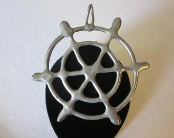 Caught in My Web - Vintage Silver Tone Spider Web Pendant