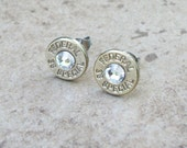 Bullet Earring, Federal 38 Special Nickel Stud Earring, Clear Swarovski Crystal, Surgical Steel Post - 149