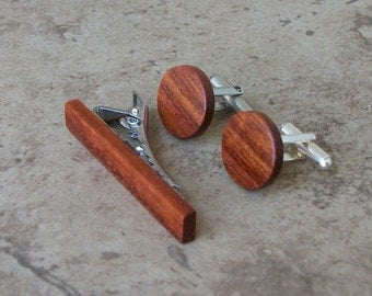 Pao Rosa Wood Cufflinks and Tie Clip Set - Great Gift For Birthdays, Wedding, Anniversaries, And Graduation - 204