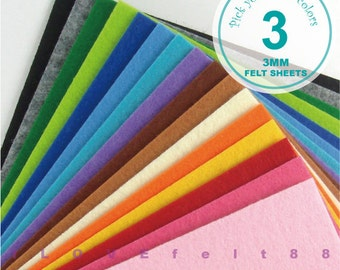3MM Thick Felt Fabric - 3 Sheets 20cm x 20cm - Pick your own colors - 5 New Colors Added