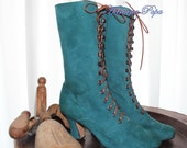 Green Victorian Boots Green Ankle Boots Edwardian Green camoscio suede leather Customised boots