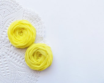 Yellow Fabric Roses Handmade Appliques Embellishment Set of 2