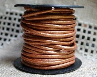 2mm Leather Cord - Metallic Bronze - 6 Feet Premium Quality Round Cording