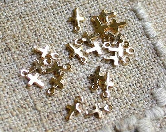 144pcs Cross Charms Drops Gold Plated 5.5x4mm Drop Small