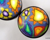 EIGHT Polymer Clay Cabinet Knobs / Pulls  20 Available  Yellow Sun,Blue, Orange and Lime Metal Base