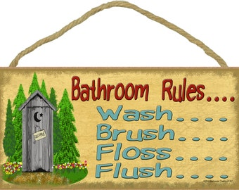 """Bathroom Rules Wash Brush Flose Flush 5"""" x 10"""" OUTHOUSE SIGN Plaque Lodge Rustic Redneck Cabin Decor"""