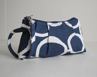 Wristlet, Clutch, Zipper Pouch, Bridesmaid Gift, Gift For Her, Bridesmaid Wristlet, Gift Idea For Her  - Free Hand in Navy