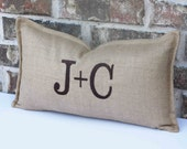 Initials pillow cover /  10x18